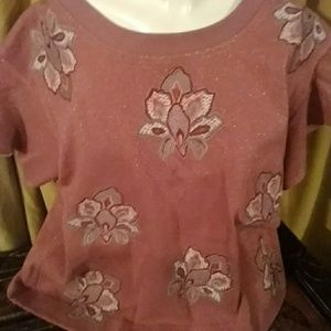 Anthropologie Chloe Oliver sparkly embroidered top